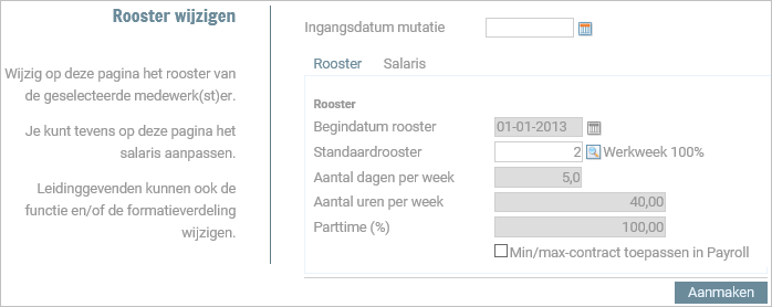 Configure combined changes to salary, contract, timetable